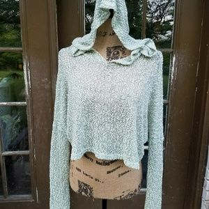 Anthropologie slub knit hoodie M